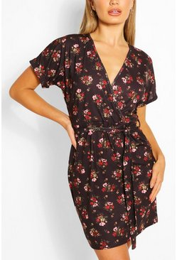 Black Floral Tie Waist Wrap Tea Dress