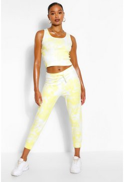 Lemon yellow Tie Dye Crop and Jogger Set