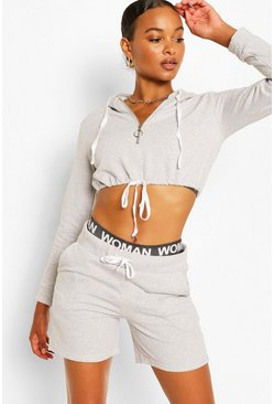 Grey marl grey HALF ZIP CROP HOODY AND SHORT SET