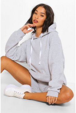 Grey marl OVERSIZED HOODY AND SHORT SET