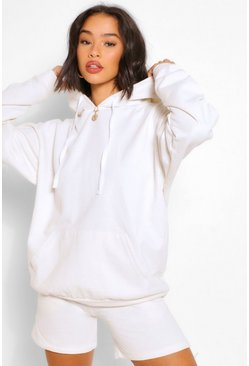 Ivory white OVERSIZED HOODY AND SHORT SET
