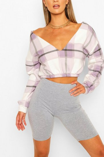 Lilac Check V Neck Crop Sweat