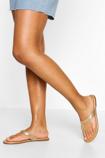 Gold Basic Thong Sandals