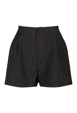 Black Pinstripe Pleat Short