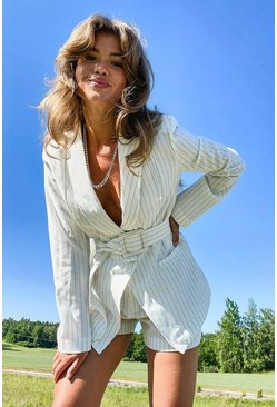 White Pinstripe Self Fabric Belt Blazer