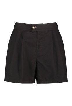 Black Woven Mock Horn Button Pleat Short