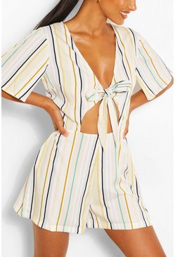 Ivory white Stripe Tie Front Playsuit