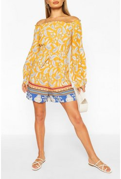 Yellow Off The Shoulder Floral Contrast Hem Playsuit
