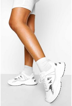 Silver Chunky Sole Lace Up Trainers