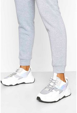 White Chunky Sole Lace Up Trainers