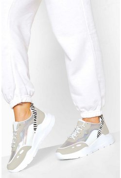 White Zebra Panel Chunky Trainers
