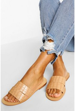 Beige Croc Cutwork Sliders