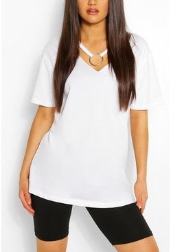 White Ring Detail Cut Out Shape T-Shirt