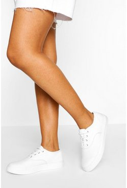 Wit white Basic pumps van canvas met vetersluiting