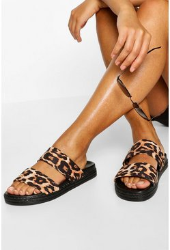 Leopard Double Strap Footbed Sliders