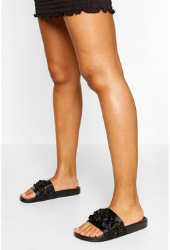 Black Ruffle Detail Pool Sliders