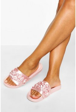 Pink rosa Ruffle Detail Pool Sliders
