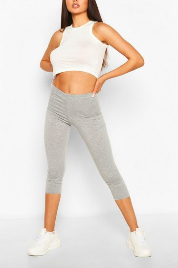 Grey Deep High Waist Cropped Legging