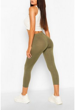 Khaki Deep High Waist Cropped Legging