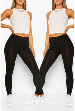 Black 2 Pack Basic High Waist Legging