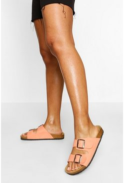 Coral pink Double Strap Footbed Sliders
