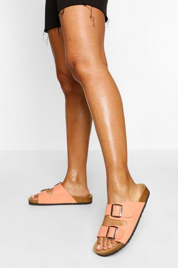Coral Double Strap Footbed Sliders