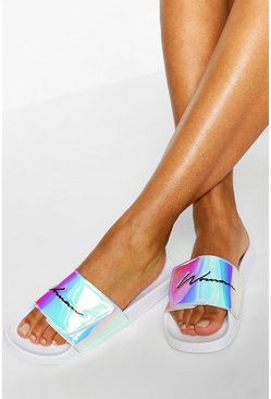 White Woman Strap Sliders