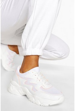 White vit Chunky Sole Trainers