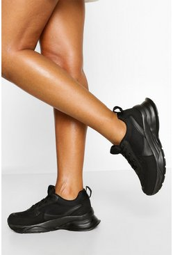 Black Chunky Sole Sneakers