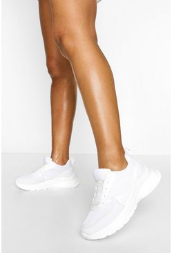 White Chunky Sole Sneakers