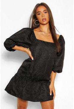 Black Jacquard Puff Sleeve Smock Dress