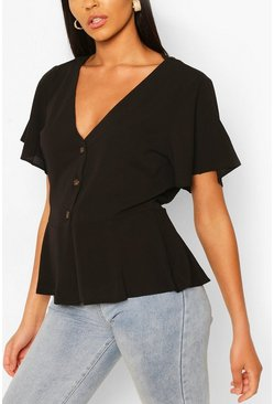 Black Woven button through blouse