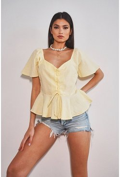 Lemon yellow Woven button through peplum