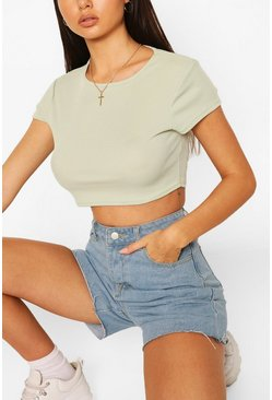 Sage Rib Cap Sleeve Crop Top