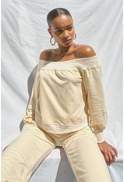 Stone beige SUPERSOFT OFF THE SHOULDER SWEAT
