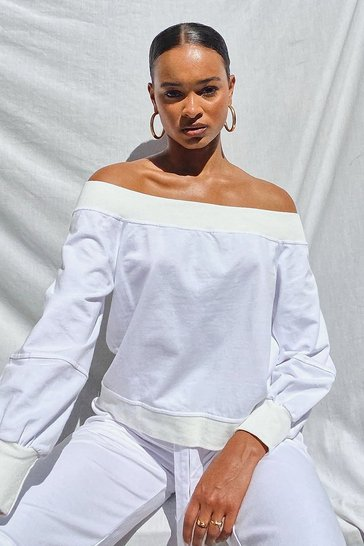 White SUPERSOFT OFF THE SHOULDER SWEAT
