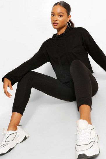 Black SUPERSOFT CROP HOODY