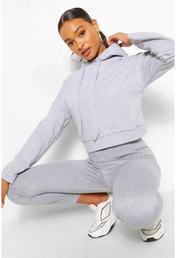 Grey marl SUPERSOFT CROP HOODY