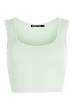 Sage Thick Strap Square Neck Crop Top