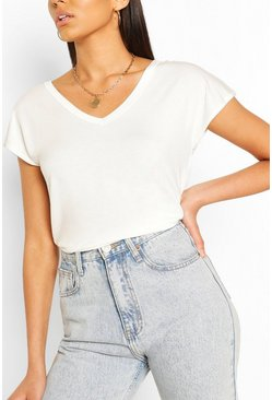 Ivory white Basic V Neck Key Hole Detail T-Shirt