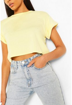 Lemon yellow Basic Roll Sleeve Crop T-Shirt