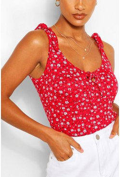Red Ditsy Print Tie Shoulder And Front Tank Top