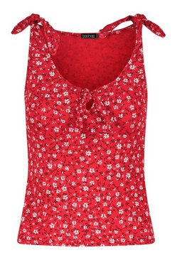 Red Ditsy Print Tie Shoulder And Front Vest