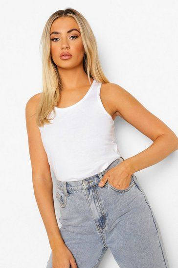 White Basic Racer Vest Tops