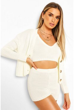 Ivory white Knitted Bralet Shorts & Cardigan Two-Piece