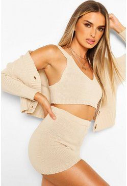 Stone Knitted Bralet Shorts & Cardigan Two-Piece