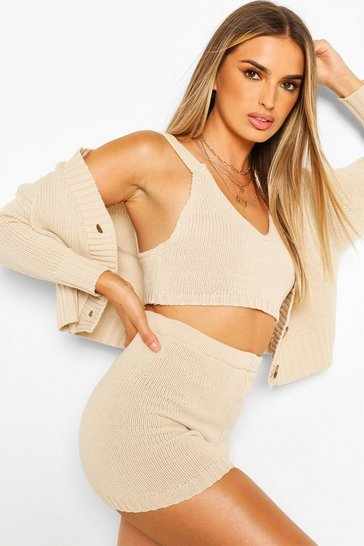 Stone Knitted Bralet Shorts & Cardigan Co-ord