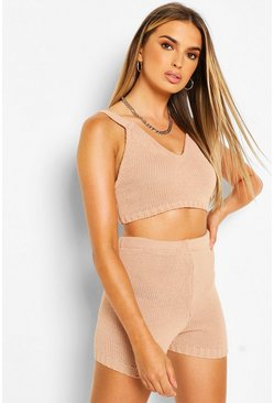 Nude Knitted Bralet & Shorts Co-ord