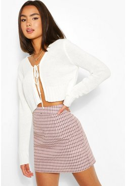 Ivory white Lace Up Crop Cardigan