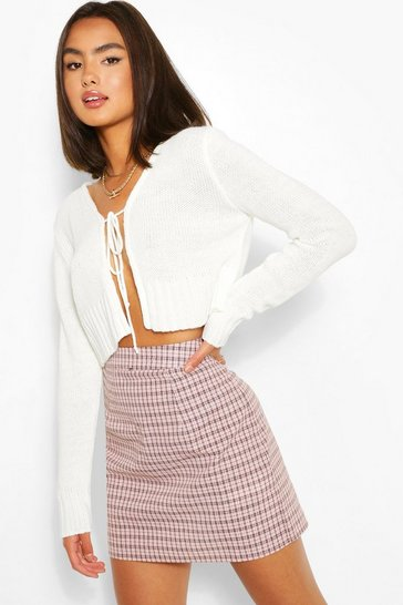 Ivory Lace Up Crop Cardigan
